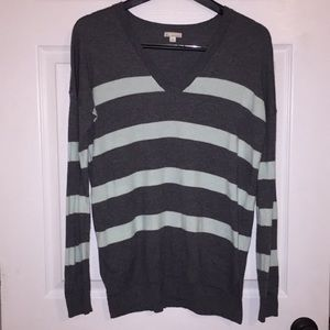 EUC GAP Gray & Teal striped sweater